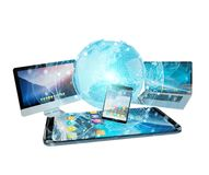 De apparaten en de pictogrammen de toepassingen van technologie verbonden het 3D teruggeven Royalty-vrije Stock Afbeelding