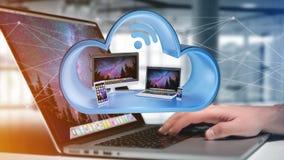 De apparaten zoals smartphone, tablet of computer in een 3d die wolk wordt getoond geven terug royalty-vrije stock afbeeldingen