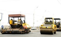 De apparatuur van de bouw bij wegenbouw Royalty-vrije Stock Fotografie