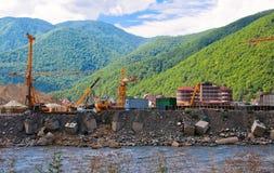 De apparatuur van de bouw op de bouwwerf Stock Foto's