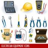 De apparatuur van de elektricien pictogrammen Stock Afbeelding