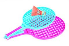 De apparatuur van het badminton stock afbeeldingen