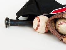 De apparatuur van het honkbal met zwarte knuppel stock foto's