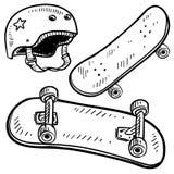 De apparatuur van het skateboard vector Royalty-vrije Stock Foto's