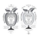 De appel van de gravurestijl met vat voor tekst in het centrum Cideretiket op wit Stock Foto
