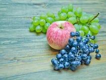 De appelen en de druiven borstelen groen en blauw Stock Foto