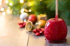 De appelen van suikergoedkerstmis en Kerstmislichten Copyspace Stock Afbeelding