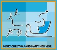 De ar van de kerstman door rendier, op een blauwe achtergrond wordt getrokken die Royalty-vrije Stock Afbeelding