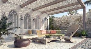 De Arabische buitenkant en het terras van de Huistuin Stock Afbeelding