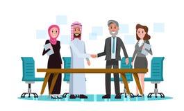 De Arabische en Westelijke schok van de Bedrijfsmensenhand in vergaderzaal vector illustratie