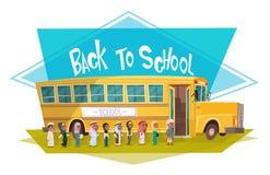 De Arabische Leerlingen groeperen het Lopen aan Gele Bus die terug naar School Moslimschoolkinderen 1 September berijden stock illustratie