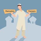De Arabische Maand van Ramadan Kareem Mosque Muslim Religion Holy van de Mensenplaat Royalty-vrije Stock Afbeeldingen