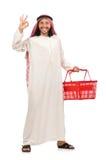De Arabische man die winkelen doen geïsoleerd op wit stock fotografie
