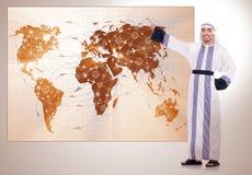 De Arabische man in het concept van de wereldreis Stock Foto