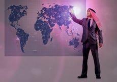 De Arabische man in het concept van de wereldreis Stock Afbeelding