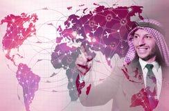 De Arabische man in het concept van de wereldreis Stock Fotografie