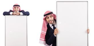 De Arabische man met lege raad voor bericht stock afbeelding