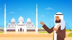 De Arabische Mens toont Moskee Bouwend Moslimgodsdienst Ramadan Kareem Holy Month Royalty-vrije Stock Afbeeldingen