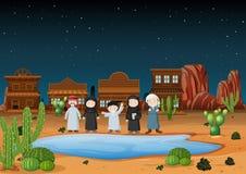 De Arabische mensen die zich op woestijn bevinden landen bij nacht stock illustratie