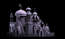 De Arabische minaret van de stadsmoskee, het 3d teruggeven Royalty-vrije Stock Afbeeldingen