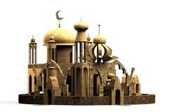 De Arabische minaret van de stadsmoskee , het 3D teruggeven Stock Foto's