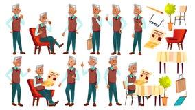 De Arabische, Moslim Oude Mens stelt Vastgestelde Vector Bejaarde mensen Hogere persoon oud Grappige Gepensioneerde leisure Aanko royalty-vrije illustratie