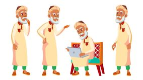 De Arabische, Moslim Oude Mens stelt Vastgestelde Vector Bejaarde mensen Hogere persoon oud Grappige Gepensioneerde leisure prent stock illustratie