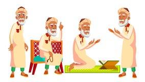 De Arabische, Moslim Oude Mens stelt Vastgestelde Vector Bejaarde mensen Hogere persoon oud Mooie Gepensioneerde life Kaart, Recl vector illustratie