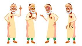 De Arabische, Moslim Oude Mens stelt Vastgestelde Vector Bejaarde mensen Hogere persoon oud Vriendschappelijke Grootouder Banner, royalty-vrije illustratie
