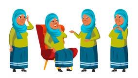 De Arabische, Moslim Oude Vrouw stelt Vastgestelde Vector Bejaarde mensen Hogere persoon oud gepensioneerde Glimlach Web, Affiche royalty-vrije illustratie