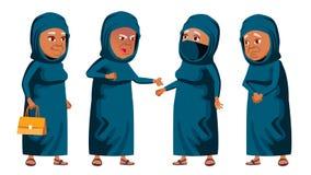 De Arabische, Moslim Oude Vrouw stelt Vastgestelde Vector Bejaarde mensen Hogere persoon oud Grappige Gepensioneerde leisure pren royalty-vrije illustratie