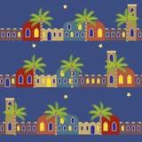 De Arabische Nacht huisvest Naadloze Patroonachtergrond royalty-vrije illustratie