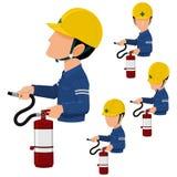 De arbeider gebruikt extincteur vector illustratie