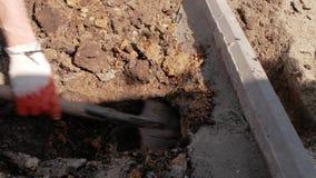 De arbeider graaft de grond met een schop onder de concrete rand stock video