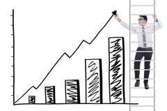 De arbeider op ladder maakt financiële grafiek royalty-vrije stock fotografie