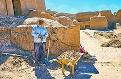 De arbeider in Rayen-citadel, Iran stock afbeeldingen