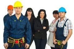 De arbeider van de aannemer en verschillende mensenbanen Stock Foto's