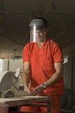 De Arbeider van de bouw bij Plaats Stock Foto
