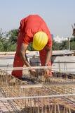 De Arbeider van de bouw bij Plaats Royalty-vrije Stock Afbeeldingen