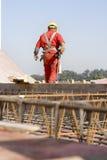 De Arbeider van de bouw bij Plaats Royalty-vrije Stock Foto