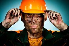 De arbeider van de de olieindustrie van het portret stock afbeeldingen