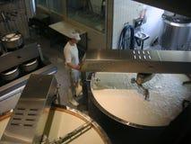 De arbeider van de kaas stock foto's