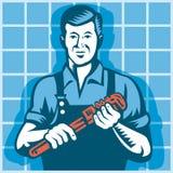De Arbeider van de loodgieter met Retro de Moersleutel van de Aap Royalty-vrije Stock Afbeeldingen