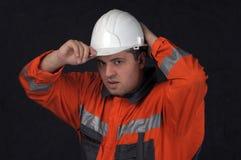 De arbeider van de mijn met witte helm Royalty-vrije Stock Afbeeldingen