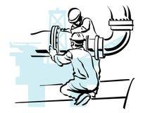 De arbeider van de olie Stock Foto's