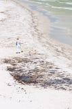 De arbeider van de olie op Strand Penacola Royalty-vrije Stock Afbeeldingen