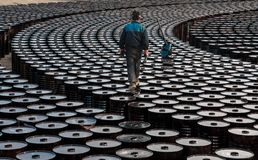 De arbeider van de olieindustrie Royalty-vrije Stock Afbeeldingen