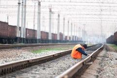 De arbeider van de spoorweg Stock Fotografie