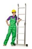 De arbeider van de vrouw met ladder stock afbeelding