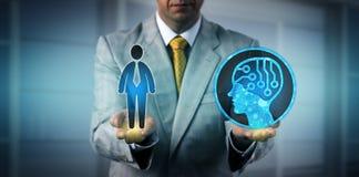 De Arbeider van managerbalancing one male en AI Systeem royalty-vrije stock foto's